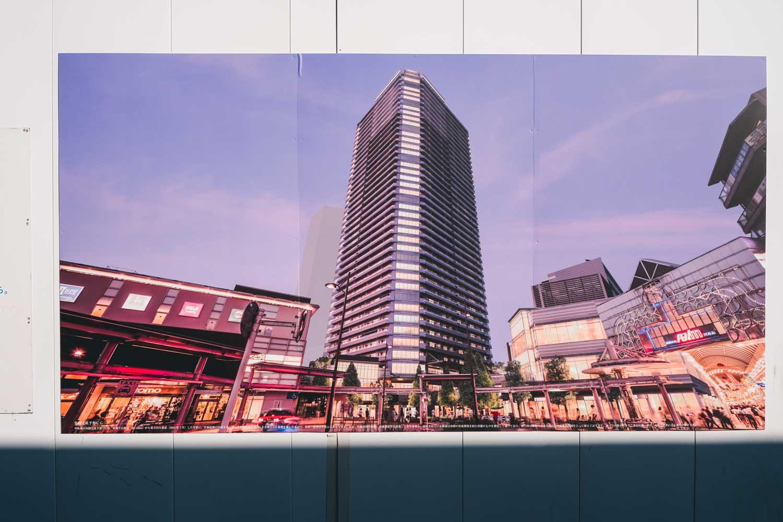 建設予定の、パークタワーと商業施設