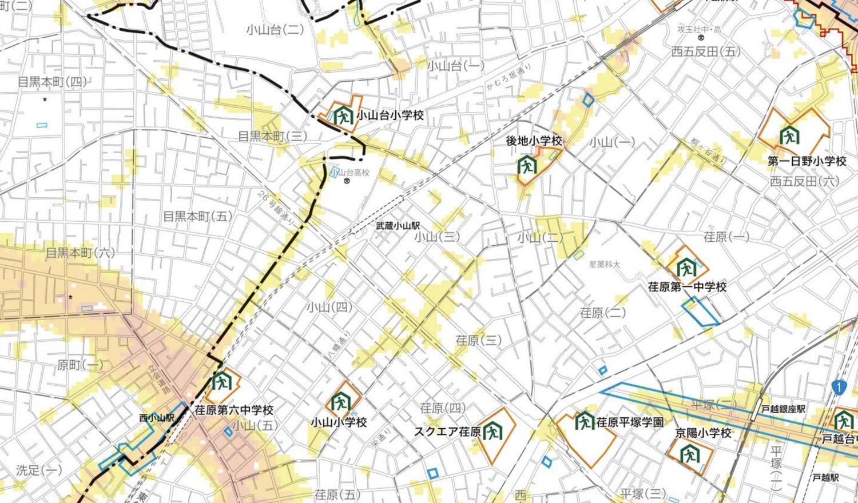 武蔵小山のハザードマップ