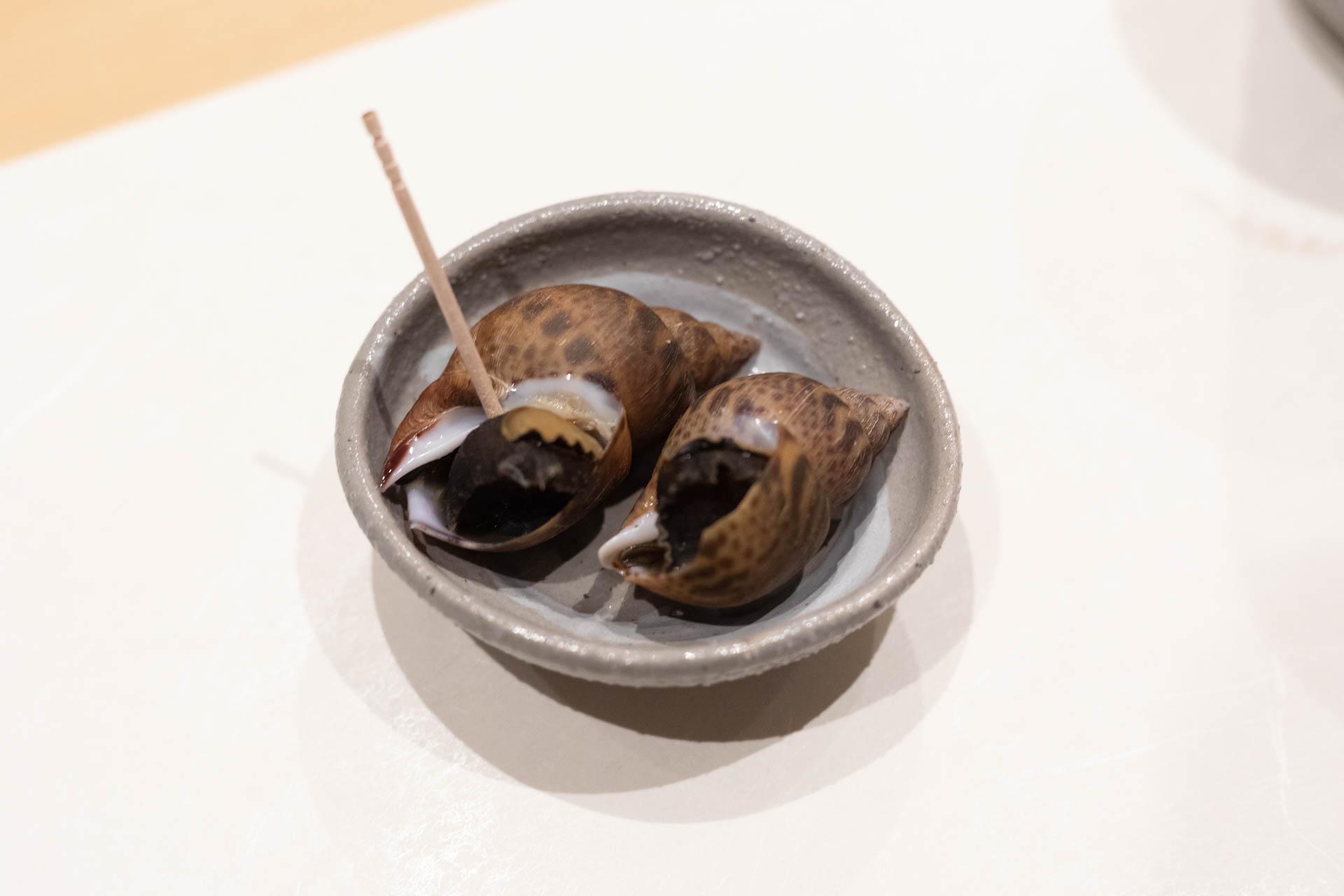くるりの前菜「黒バイ貝」