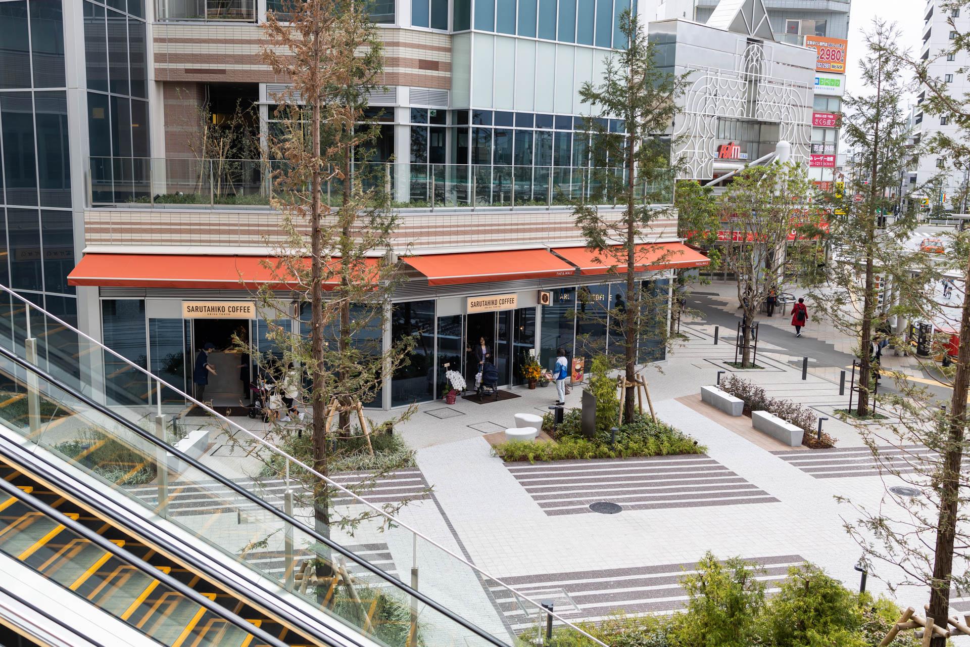 猿田彦珈琲武蔵小山店の外観 パークシティの2階から